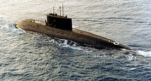 History of the Iranian Navy - An Iranian, Kilo-class submarine, the Yunes, during delivery in 1995.