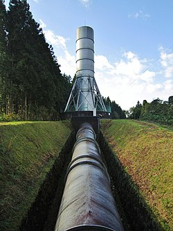 Isawa II power station surge tank and penstock.jpg