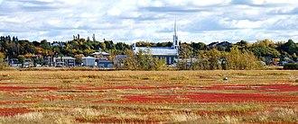 Baie de l'Isle-Verte - The marshes of Baie de l'Isle-Verte, with the village of L'Isle-Verte in the background.