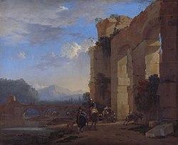 Jan Asselijn: Ezeldrijvers bij een Italiaanse ruïne