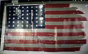 Raising the Flag on Iwo Jima - The flags from the first and second flag-raisings are conserved in the National Museum of the Marine Corps; the second flag, pictured here, was damaged by the high winds at the peak of Suribachi (American flags during World War II had 48 stars, since Alaska and Hawaii were not yet U.S. states).