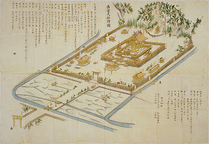 Izumo-taisha - A Meiji period drawing proposing renovations, submitted to Prince Sanjō Sanetomi.