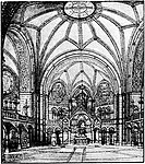 Sketch by Otzen of the hall of the Ringkirche