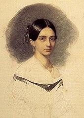 Clara Wieck 1840, kurz vor ihrer Heirat, aquarellierte Zeichnung von Johann Heinrich Schramm (Quelle: Wikimedia)