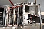 JMSDF US-1A T64-IHI-10E turboprop engine(cutaway model) gas generator turbine & power turbine section left side view at MCAS Iwakuni May 5, 2019.jpg