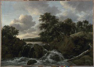 Paysage avec une cascade