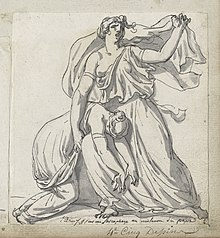 Niobe, in flowing garment, arm raise and face mournful, holding the collapsed body of her daughter across her thigh