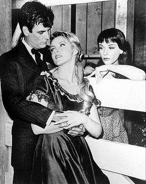 "James Best - L-R: James Best, Laura Devon, and Anne Francis in ""Jess-Belle"", an episode of The Twilight Zone (1963)"