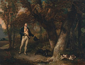 Thomas Levett (priest) - Portrait of the Rev Thomas Levett and Favourite Dogs Cock-Shooting, oil on canvas, James Ward, 1811.
