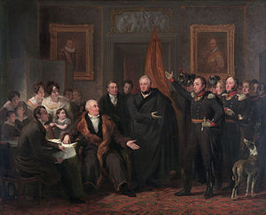 Gijsbert Karel van Hogendorp - Members of Triumvirate: Gijsbert Karel van Hogendorp (sitting, left), Adam Count van der Duyn van Maasdam (standing, first from the left) and Leopold Count van Limburg Stirum (in the centre, wearing a gown)