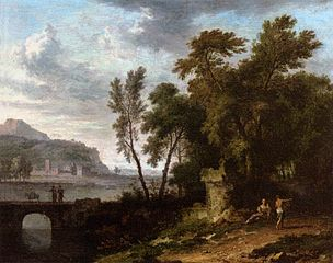 Paysage animé avec ruine et pont