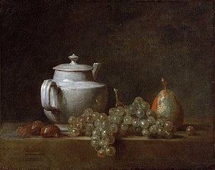 Still Life with Teapot, Grapes, Chestnuts, and a Pear