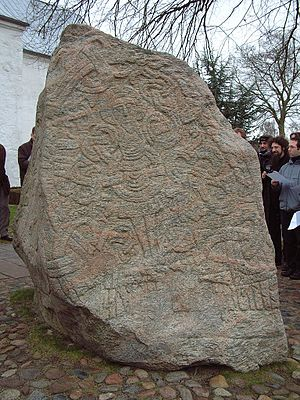 Jelling stones - The figure of Christ on Harald's runestone.