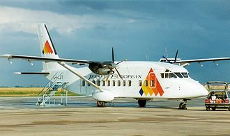 Blackpool Airport - A Jersey European Short 360 at the airport in the late 1990s.