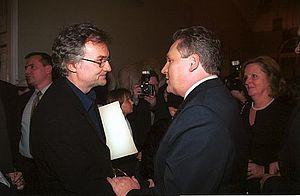 Jerzy Pilch - Jerzy Pilch (left) with president Aleksander Kwaśniewski