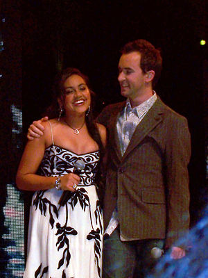 Jessica Mauboy - Mauboy with Damien Leith at the Australian Idol grand finale