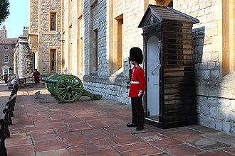Jewel House - A Scots Guards sentry outside the Jewel House