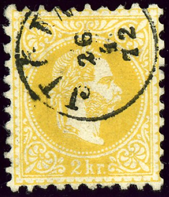 Jičín - Austrian KK 2 kreuzer stamp, cancelled in 1872