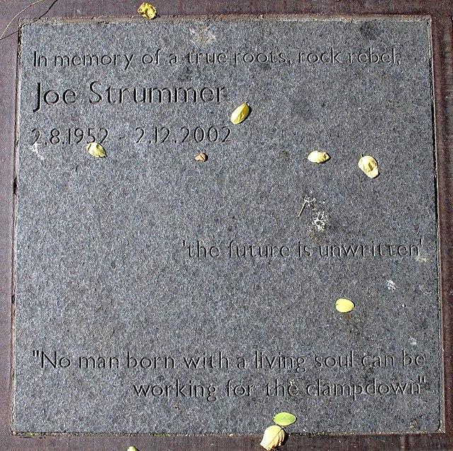 Joe Strummer stone plaque - In memory of the true roots of Joe Strummer 2.8.1952 - 2.12.2002