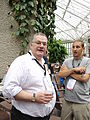 John Byrne and Occasi on the conservatory terrace at Wikimania 2014 01.jpg