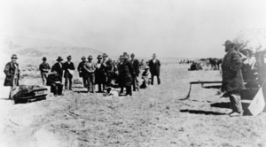John D. Lee - Photograph of Lee (seated next to the coffin) just prior to his execution.