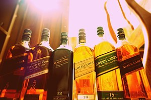Scotch whisky - Johnnie Walker Scotch whisky bottles.