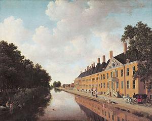 Joris van der Haagen - View of the Prinsessegracht in The Hague, where the Confrerie Pictura was situated by Van der Haagen. The figures were painted by Ludolf Leendertsz de Jongh.