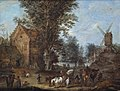 Joseph van Bredael - A village scene with travellers and wagoners and numerous other figures at their daily activities.jpg