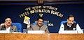 Jual Oram releasing a curtain raiser on the National Tribal festival-2015 VANAJ, in New Delhi. The Secretary Ministry of Tribal Affairs, Dr. H. Panda and Director General (M&C), Press Information Bureau.jpg