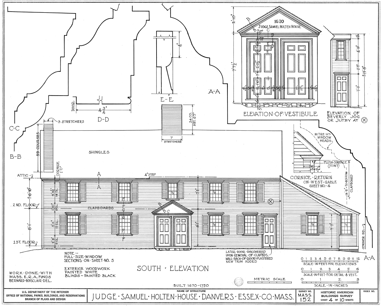 Elevation Plan Wiki : File judge samuel holten house south elevation