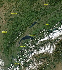 Satellite image of the Jura mountains and Western Alps, including Lake Geneva, with major cities labeled