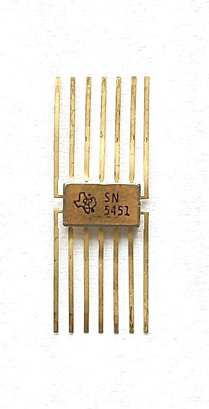 "Texas Instruments - Transistorized ""logic"" chip, an integrated circuit produced by TI"