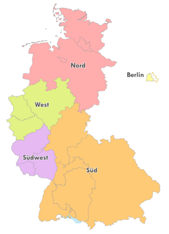 Oberliga Süd (1945–63) - Map of the five German Oberligas and East Germany in 1963.
