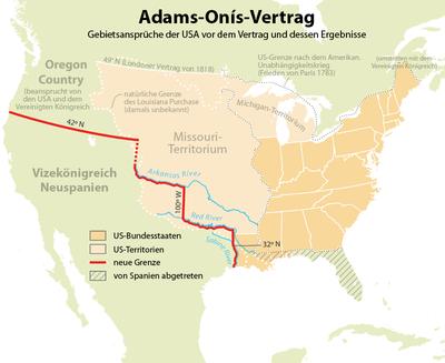 Ubersichtskarte Zu Den Ergebnissen Des Adams Onis Vertrags