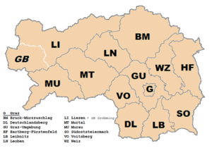 Südoststeiermark District - Image: Karte Aut Stmk Bezirke