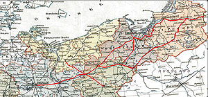 Main routes of the Prussian Eastern Railway marked on map of 1905