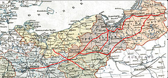 Prussian Eastern Railway - Main routes of the Prussian Eastern Railway marked on map of 1905