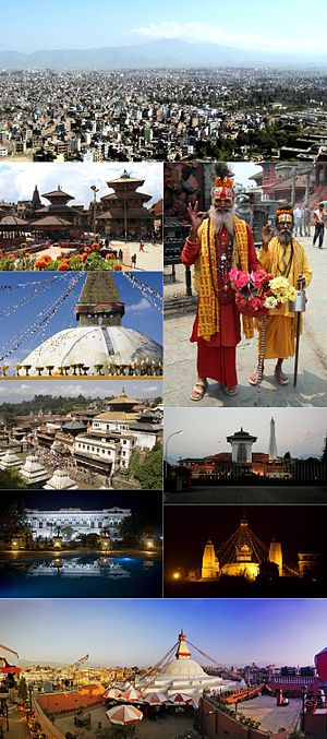 Clockwise from top: Bird's-eye view of Kathmandu; Sadhus; Narayanhity Palace Museum; Swayambhunath Stupa at night; Boudhanath Stupa with a partial panaroma of Kathmandu behind it; The Shanker Hotel; Pashupatinath Temple; Boudhanath Stupa; Patan Durbar Square