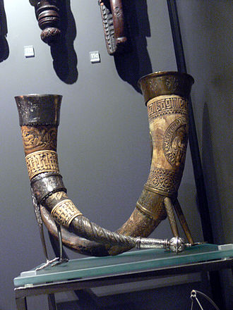 Icelandic cuisine - Two Icelandic drinking horns from around 1600 in the Danish National Museum.