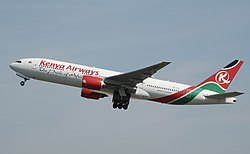 Kenya Airways B777-2U8ER (5Y-KYZ) taking off from London Heathrow Airport.jpg
