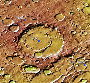 Kepler (Martian crater) - Location of Kepler Crater. Craters in that location appear oval due to the terrain image was taken at the equatorial portion of Mars