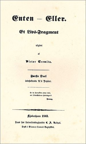 Either/Or - Title page of the original Danish edition from 1843.