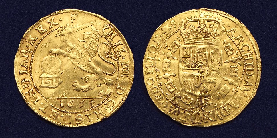 King Spain Philip IV gouden souverein Doornik 1633