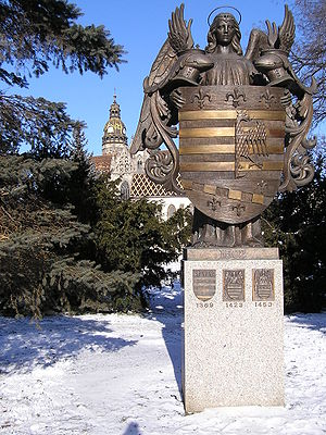 Coat of arms of Košice - Statue of the first municipal coat of arms in Europe - Košice, Slovakia