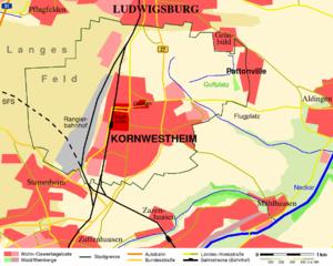 Kornwestheim - Image: Kornwestheim Landkarte