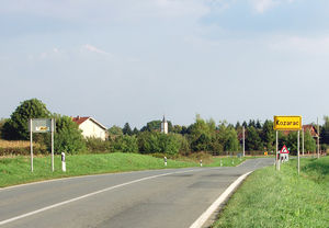 European route E73 - E73 as Croatian D7 state road, in Kozarac, north of Osijek