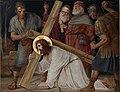 Kruisweg Sint-Pancratiuskerk, Heerlen, statie 03, Eerste val van Jezus onder het kruis.jpg