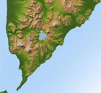 Kurile Lake - Position of Kurile Lake in southern Kamchatka