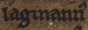 Lǫgmaðr Guðrøðarson - Image: Lǫgmaðr Guðrøðarson (British Library Cotton MS Julius A VII, folio 33v)