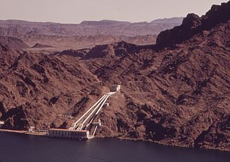 Colorado River Aqueduct - Whitsett Pumping Plant on Lake Havasu  lifts the water 291 feet (89 m) for the Colorado River Aqueduct. 1972 photo.